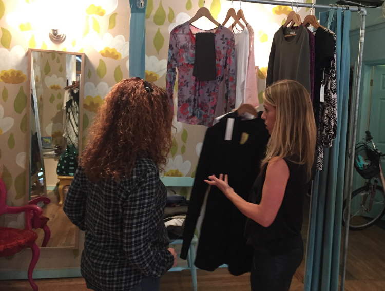 Stylist Amy Berenbak and her client check out the fantastic variety of fashions at Peper & Parlor (938 Washington St., Hoboken).