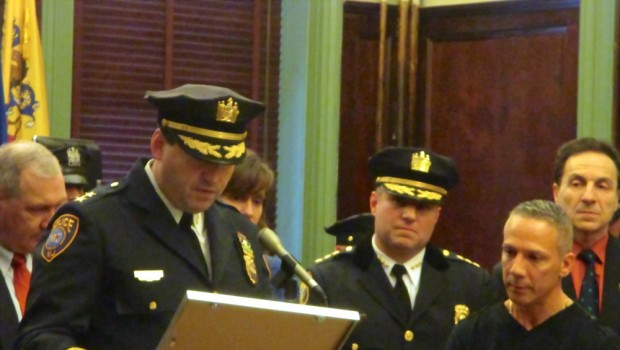 Hoboken Police Department Ceremony — Stevens Institute Chief of Police Tim Griffin read a proclamation, and Freeholder Anthony Romano added a few words of praise for Lieutenant Cruz.