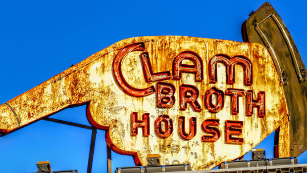 ILLUMINATING HISTORY: Hoboken's Iconic Clam Broth House Sign Lights Up Once Again