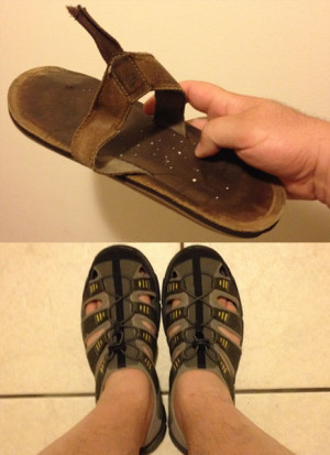 HARDLY TRADING UP: Broken Flip-Flop (top); Ridiculous Sandals (bottom)