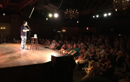 Adam Wade performing in front of a sold-out crowd at the Bell House in Brooklyn