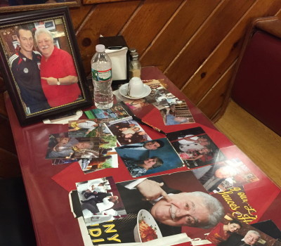 Memorial booth set up at Benny Tudino's