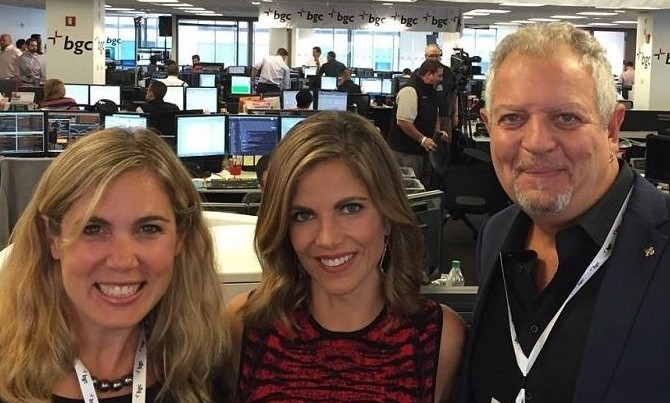 Jubilee Board member Kay LiCausi, Celebrity Ambassador Natalie Morales, and Jubilee Executive Director David Shehigian on the BGC trading floor earlier today.