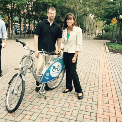 Bike and Roll CEO Chris Wogas, with Hoboken Mayor Dawn Zimmer