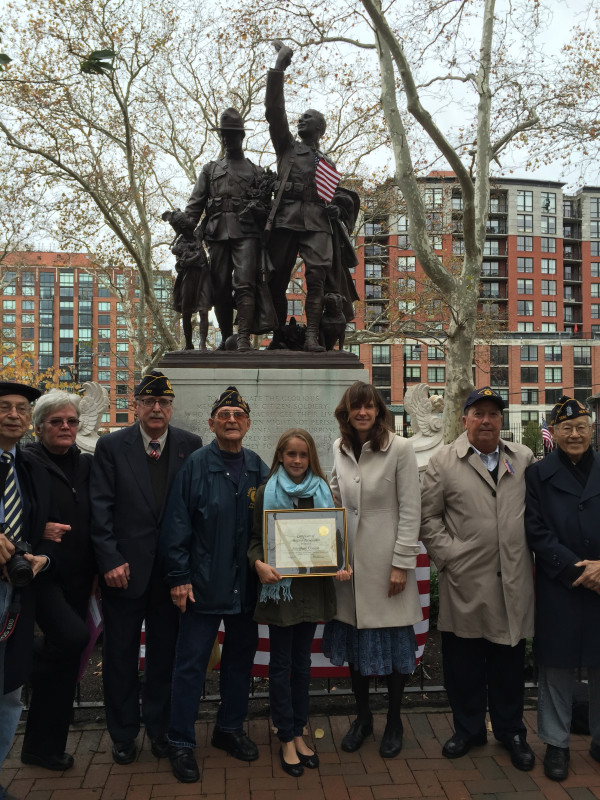 Hoboken Charter School's Josephine Conlon (center), with Mayor Zimmer and members of the Hoboken American Legion Post 107