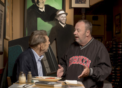 Author Pete Hamill (left), talking Sinatra with Hoboken resident and Leo's regular, Peter Ising,