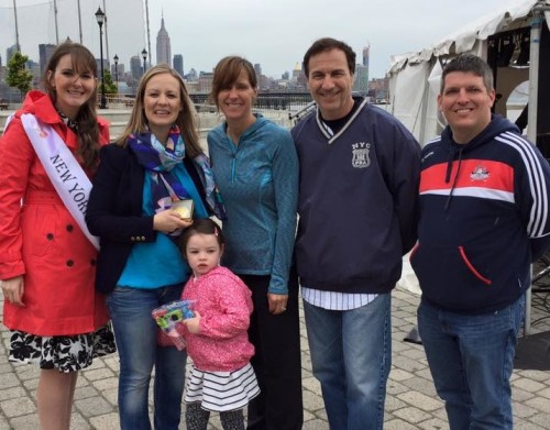 New York/New Jersey Rose of Tralee representative Kristen Stack, Deputy Head of Mission for the irish Consulate Anna McGillicuddy with her daughter, Hoboken Mayor Zimmer, Hudson County Freeholder Anthony Romano and Irish Network NJ President Steve Lenox