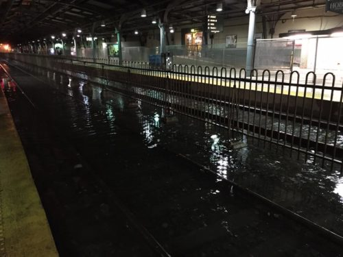 Tracks at Hoboken Terminal submerged under flood waters last night.