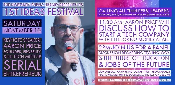 First Ideas Festival 2018 at the Hoboken Public Library  — Saturday, November 10th @ 11:30 a.m.