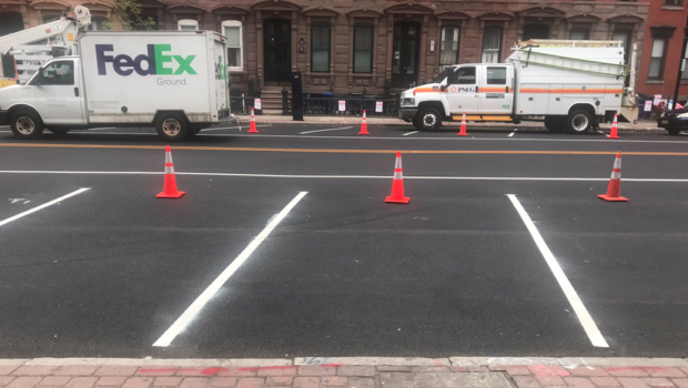 Parking Spaces On Hoboken's Washington Street Painted Wrong, Requiring Further Work