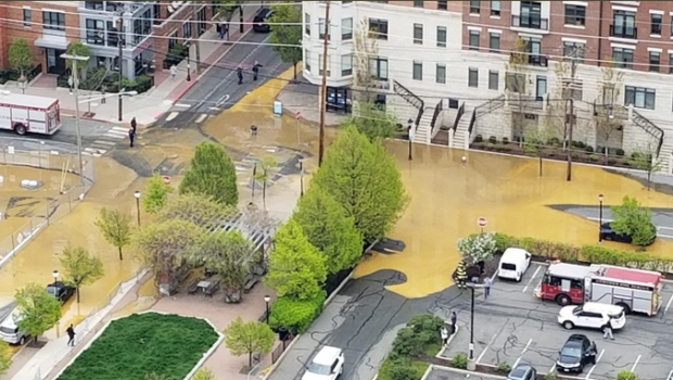 Water Main Break in Hoboken, Near 11th & Madison